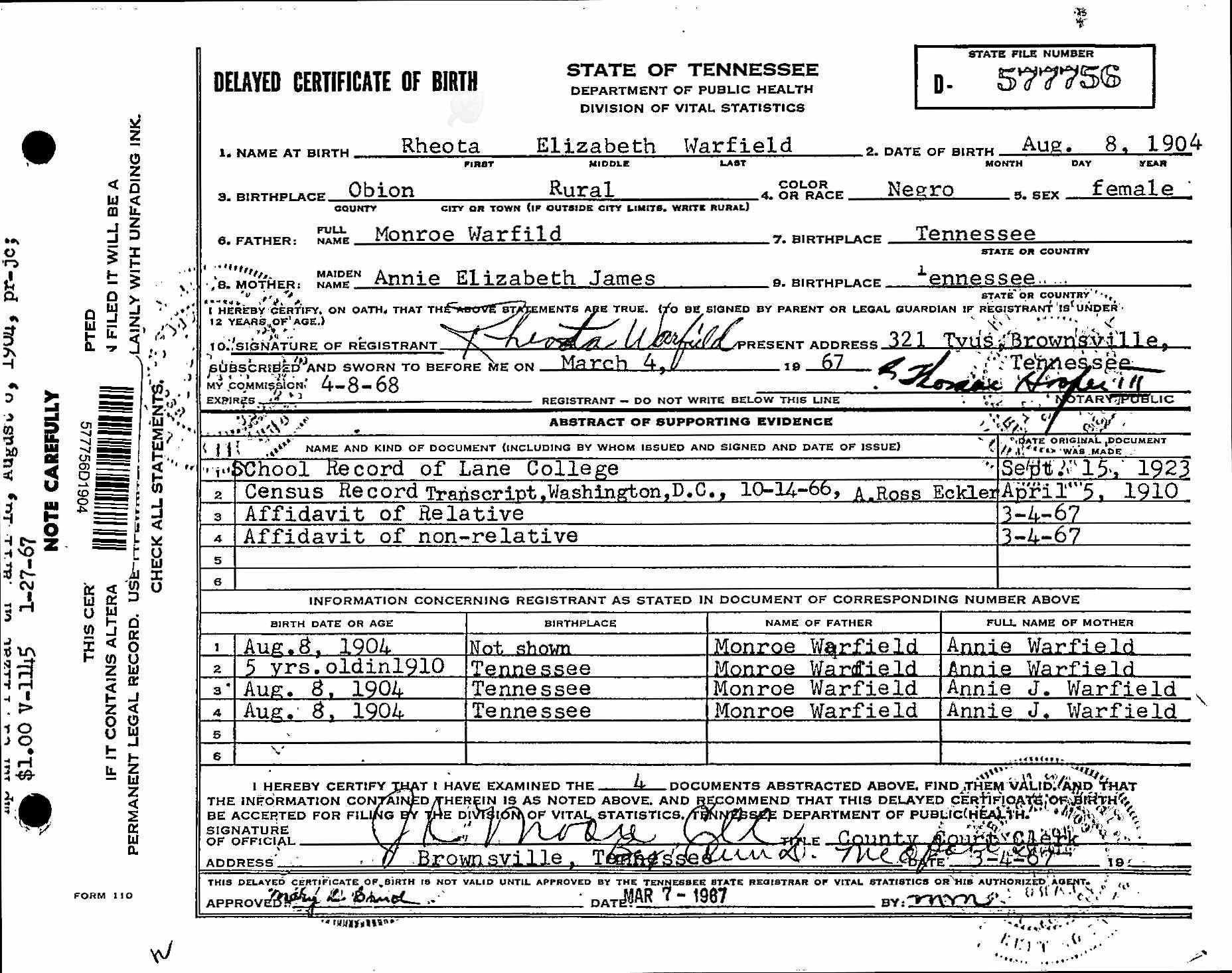 Obion tennesee pieces of me bayou teche genealogy tennesseedelayedbirthrecords1869 1909forrheitaelizabethwarfield rheota warfield delayed birth certificate aiddatafo Gallery